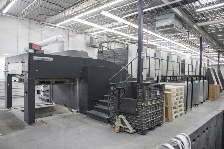 printing machinery in the factory, showing capabilities