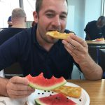 Kevin Peters enjoying watermelon and roll kuchen with a drizzle of rogers golden syrup of course!